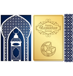 Arabic style greeting card design for laser vector