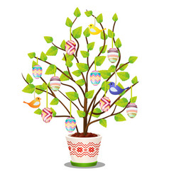artificial easter plant with hanging decorated vector image