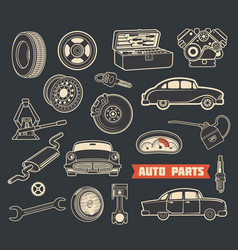 auto parts retro symbols with vintage car details vector image