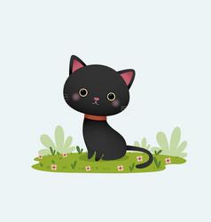 black cat sitting in garden vector image