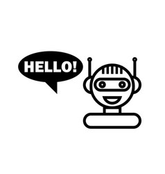 Black line chat bot cute smiling chatbot icon vector