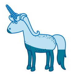 Blue silhouette of cartoon unicorn standing vector