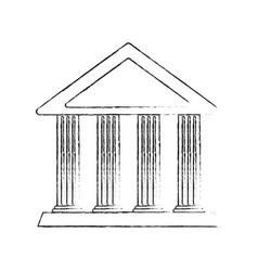 Blurred silhouette cartoon sketch parthenon vector