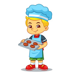 boy baking chocolate cookies vector image