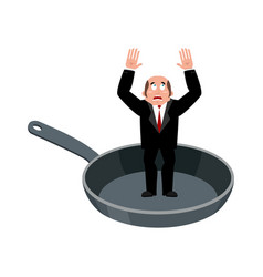 businessman in frying pan sinner in cauldron boss vector image