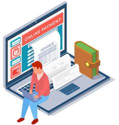 Businessman sitting on laptop pays via internet vector