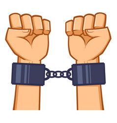 Captured hands chained with handcuff vector