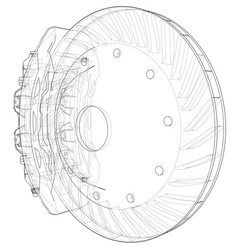 Car brake disc outline vector