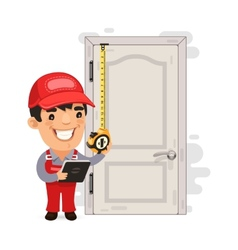 Carpenter Measures the Old Door vector image