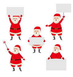 Cartoon santa claus holding blank empty poster vector