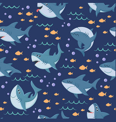 cartoon sharks pattern seamless ocean swim vector image