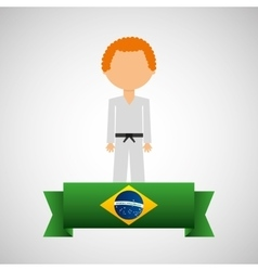 Cartoon taekwondo player brazilian label vector