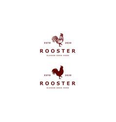 chicken logo mono line vintage vector image