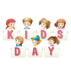 Children holding sign for word kids day vector