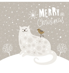 Christmas card with big cat and little bird vector image