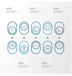 clothes outline icons set collection of singlet vector image