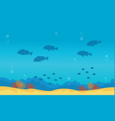 Collecion of underwater landscape with fish and vector