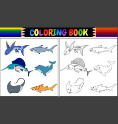 coloring book marine fishes collection vector image