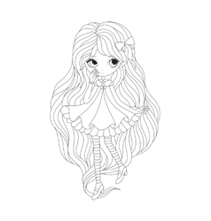 Coloring book page - girl elf vector image