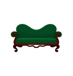Comfortable sofa vintage green couch living room vector
