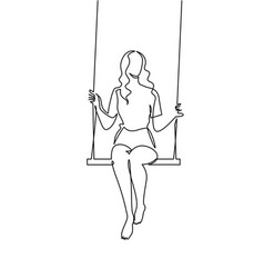 Continuous one line drawing youg woman swinging on vector