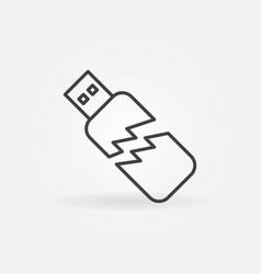 Corrupted usb stick icon in thin line style vector