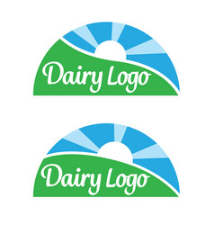 Dairy food product logos vector