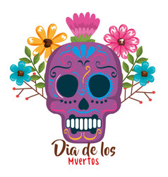 Day of the dead mask with floral decoration vector