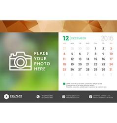 Desk calendar 2016 design template week starts vector