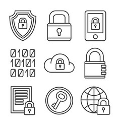 Digital encrypt technology security icons set vector