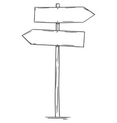 drawing of empty old wooden road two directions vector image