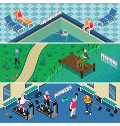 Elderly People Isometric Banners vector