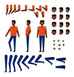 flat african student creation set vector image
