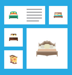 Flat bedroom set of bedroom crib hostel and vector