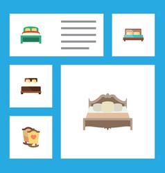 Flat bedroom set of bedroom crib hostel and vector