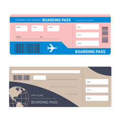 flight tickets or plane boarding pass isolated vector image
