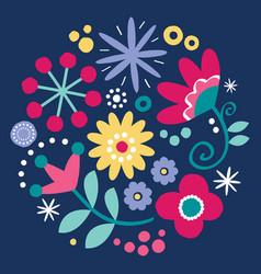 floral folk art design scandinavian art vector image
