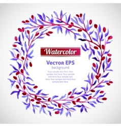 Floral watercolor wreath with pink berries vector
