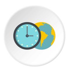 Globe and clock icon circle vector