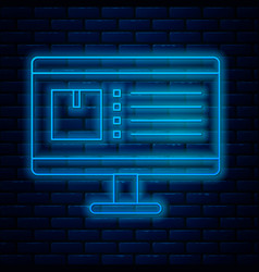 Glowing neon line computer monitor with app vector