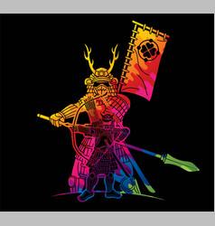 Group samurai japanese warrior ronin vector