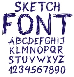Handwritten blue sketch alphabet vector image