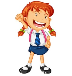 Happy girl in school uniform vector image