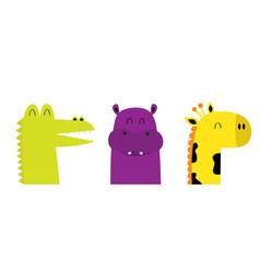 hippopotamus hippo giraffe alligator crocodile vector image