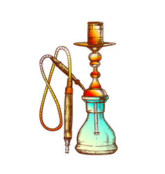 Hookah lounge cafe equipment hand drawn vector