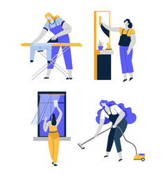 household chores and housework cleaning house vector image