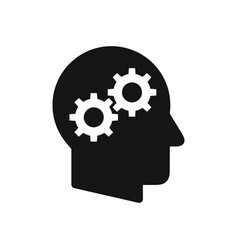 human head profile with gear wheels symbol vector image