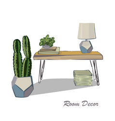 interior design sketch flat modern elements vector image