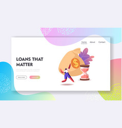 loan contract dollar currency saving landing page vector image