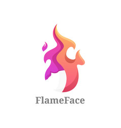 Logo flame face gradient colorful style vector